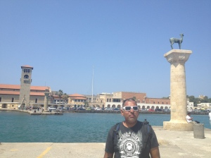 The Colossus of Rhodes once stood on these pillars, you would sail into the harbor through the legs.